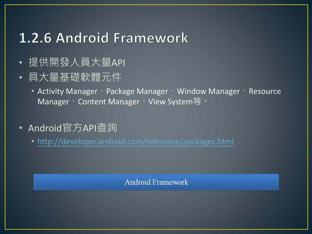 1.2.6 Android Framework 提供開發人員大量API 具大量基礎軟體元件 Android官方API查詢