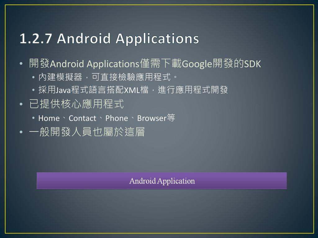 1.2.7 Android Applications 開發Android Applications僅需下載Google開發的SDK