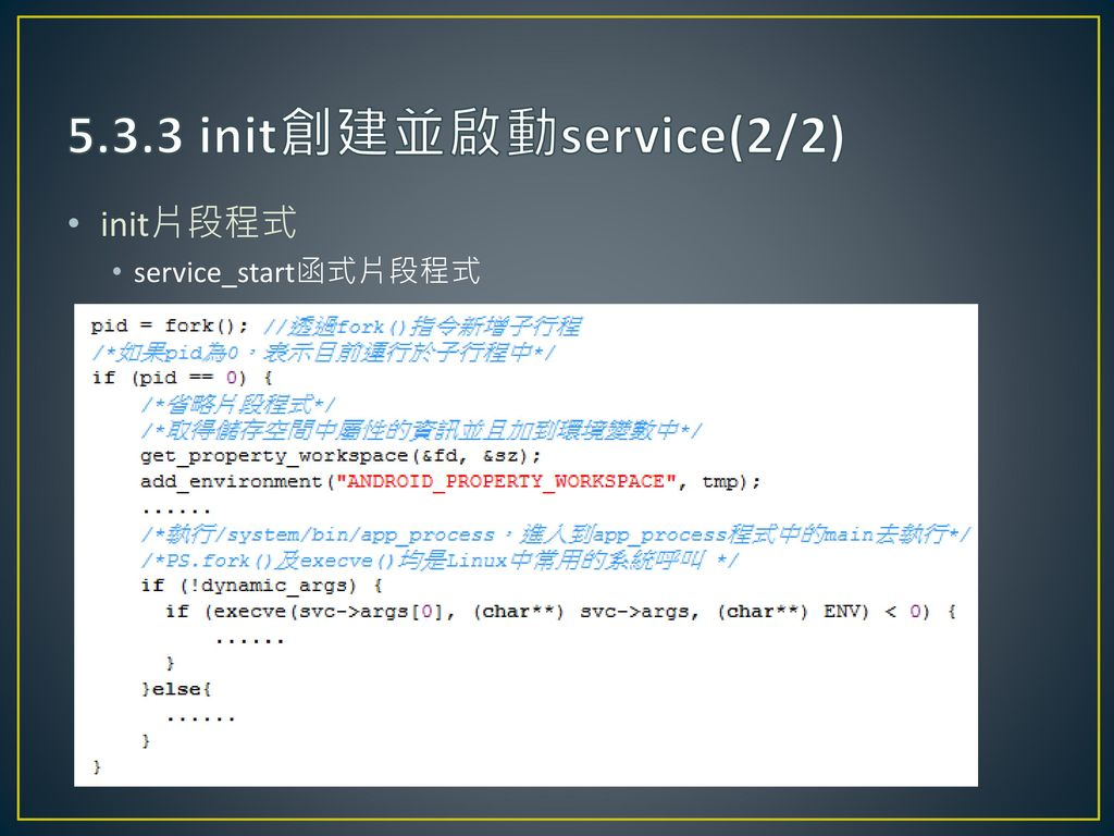 5.3.3 init創建並啟動service(2/2) init片段程式 service_start函式片段程式