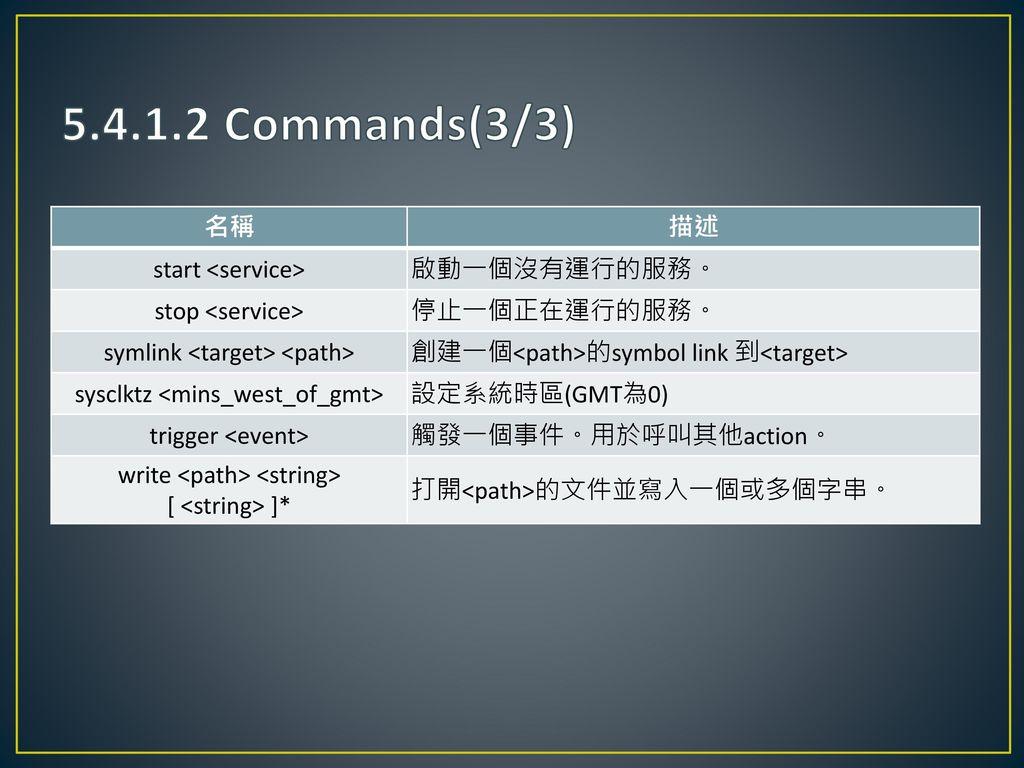 5.4.1.2 Commands(3/3) 名稱 描述 start <service> 啟動一個沒有運行的服務。