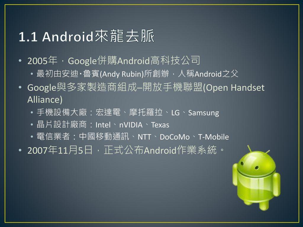1.1 Android來龍去脈 2005年,Google併購Android高科技公司