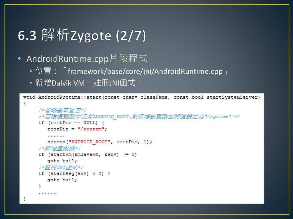 6.3 解析Zygote (2/7) AndroidRuntime.cpp片段程式