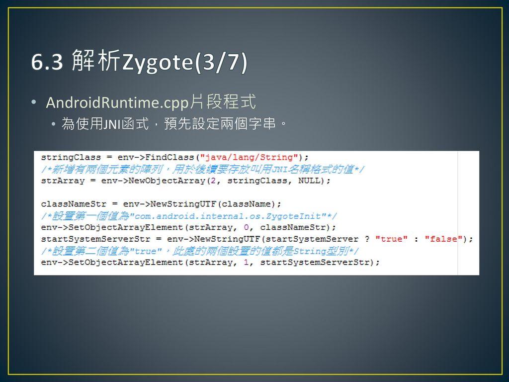 6.3 解析Zygote(3/7) AndroidRuntime.cpp片段程式 為使用JNI函式,預先設定兩個字串。