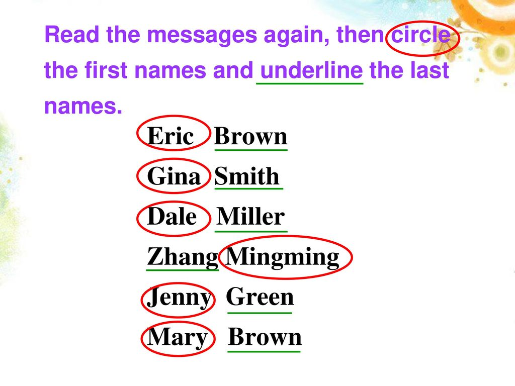 Read the messages again, then circle the first names and underline the last names.