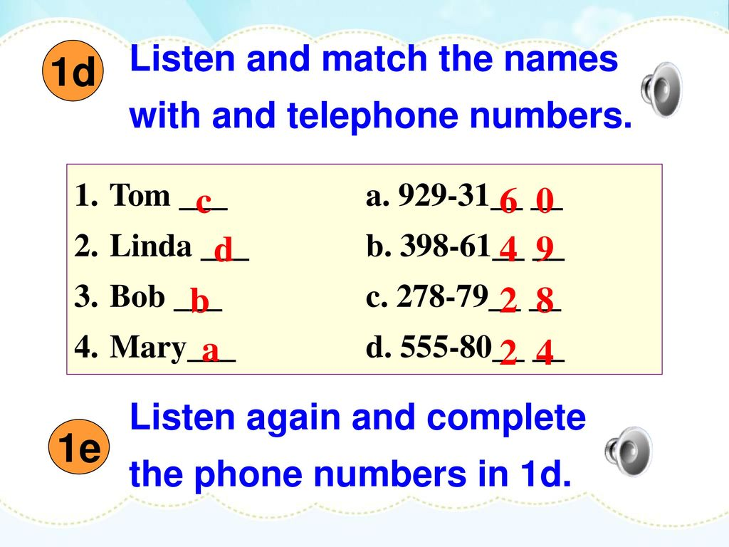 1d 1e Listen and match the names with and telephone numbers. c 6 0 d