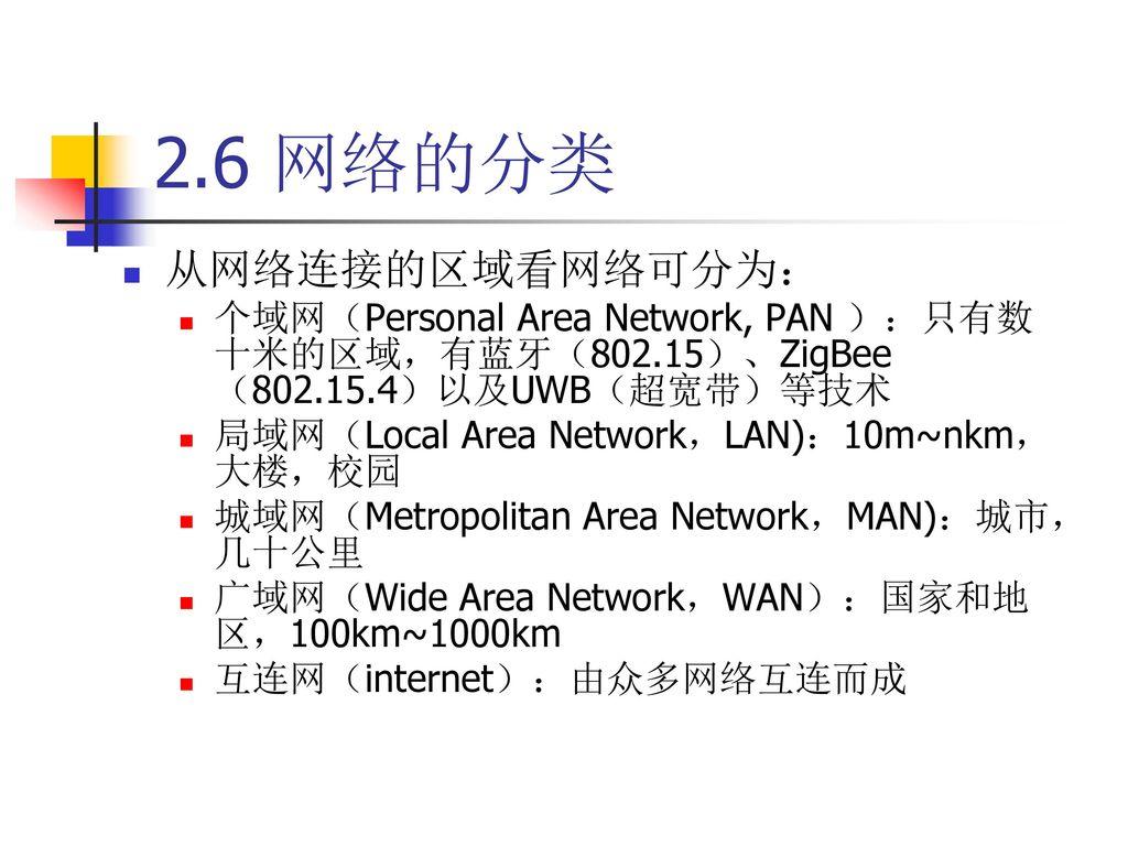 2.6 网络的分类 从网络连接的区域看网络可分为: