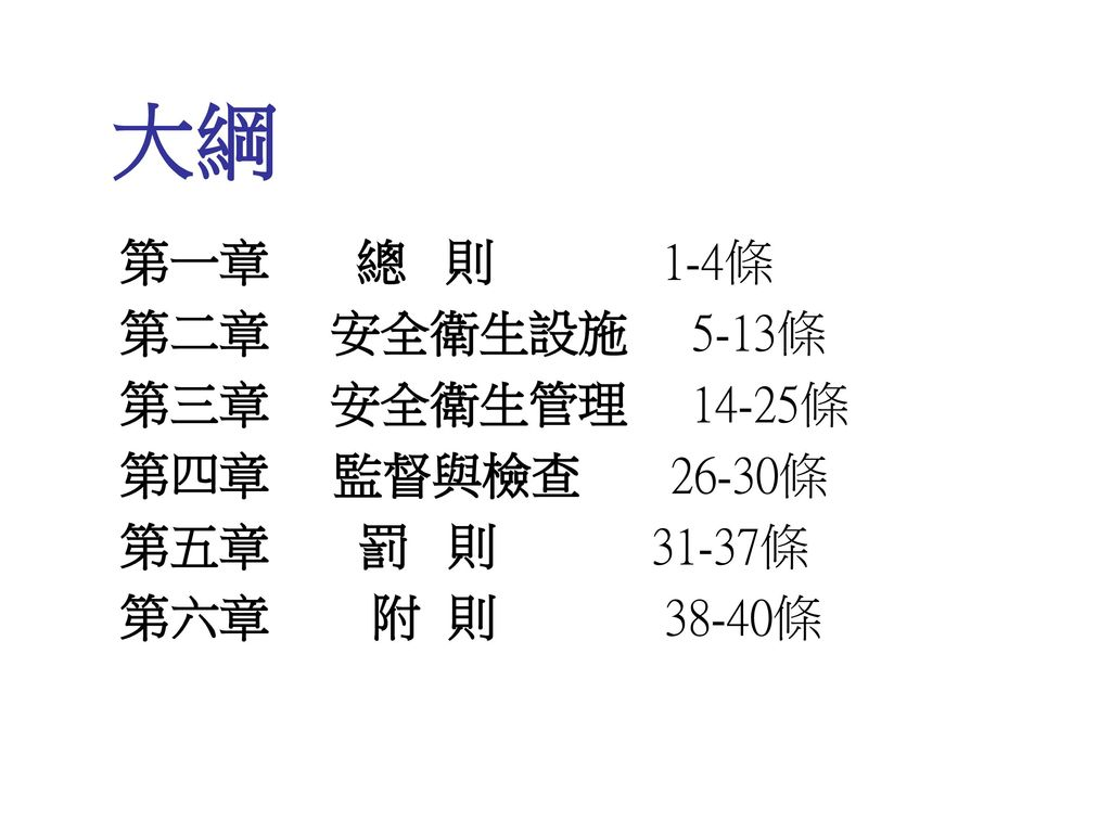 大綱 第一章 總 則 1-4條 第二章 安全衛生設施 5-13條 第三章 安全衛生管理 14-25條 第四章 監督與檢查 26-30條