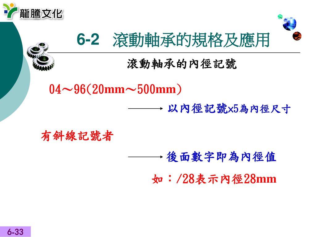 6-2 滾動軸承的規格及應用 滾動軸承的內徑記號 04~96(20mm~500mm) 以內徑記號×5為內徑尺寸 有斜線記號者