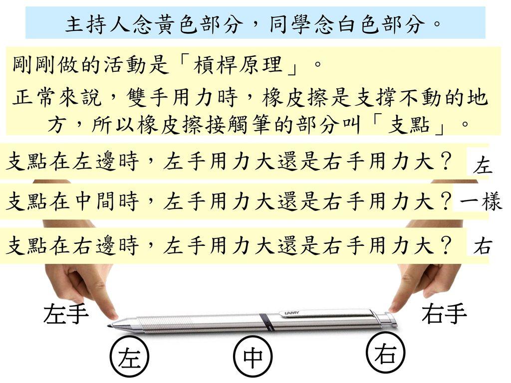 主持人念黃色部分,同學念白色部分。 剛剛做的活動是「槓桿原理」。 正常來說,雙手用力時,橡皮擦是支撐不動的地方,所以橡皮擦接觸筆的部分叫「支點」。 支點在左邊時,左手用力大還是右手用力大? 左.