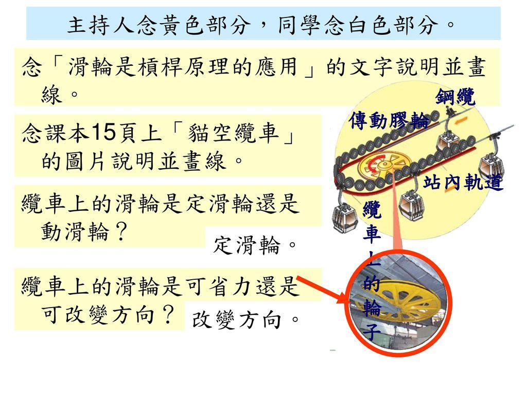 念「滑輪是槓桿原理的應用」的文字說明並畫線。