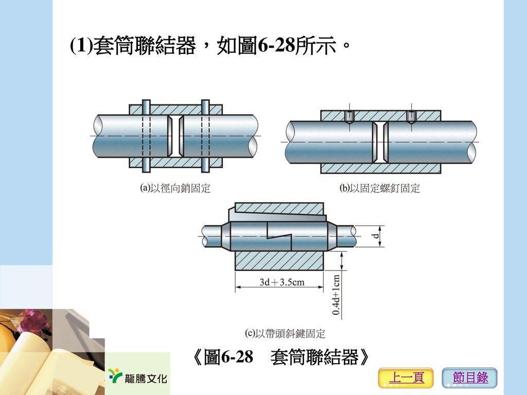 (1)套筒聯結器,如圖6-28所示。 《圖6-28 套筒聯結器》 上一頁 節目錄