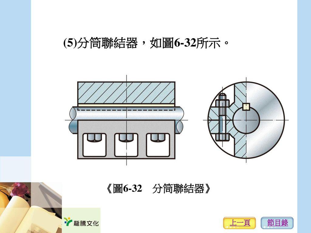 (5)分筒聯結器,如圖6-32所示。 《圖6-32 分筒聯結器》 上一頁 節目錄