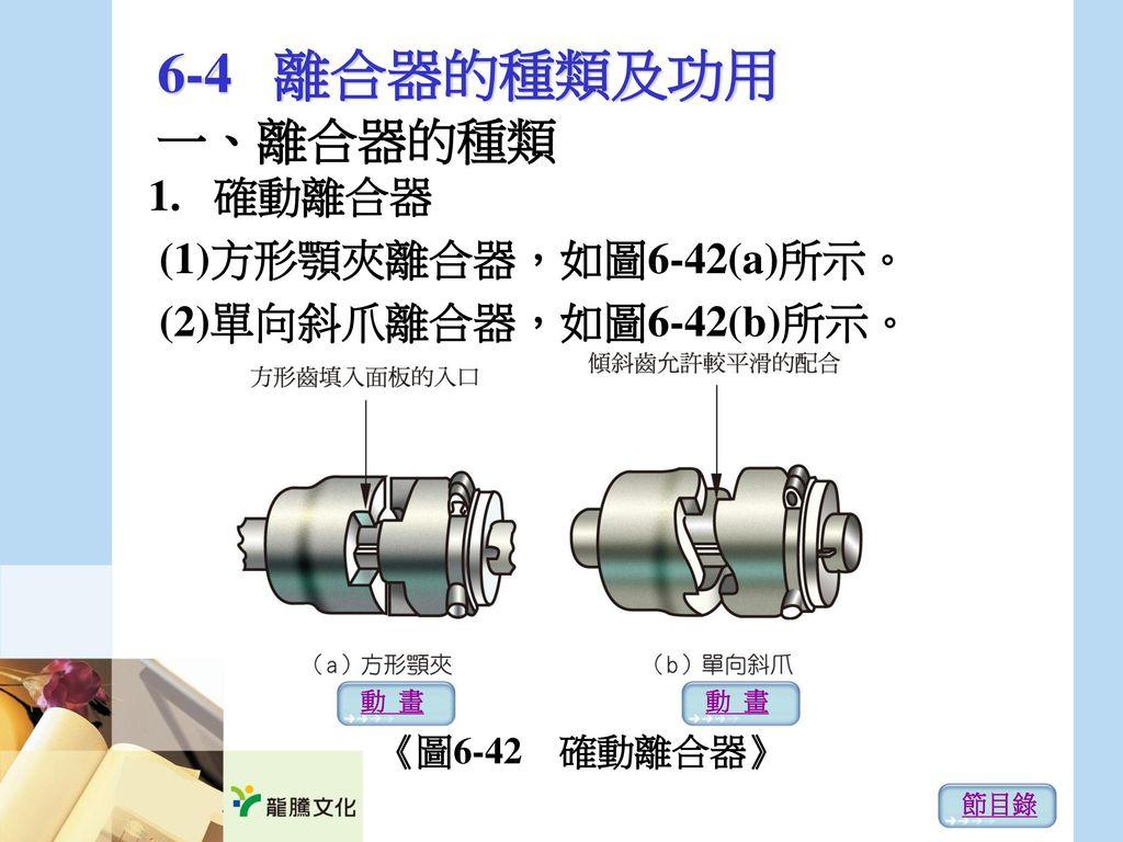 6-4 離合器的種類及功用 一、離合器的種類 1. 確動離合器 (1)方形顎夾離合器,如圖6-42(a)所示。