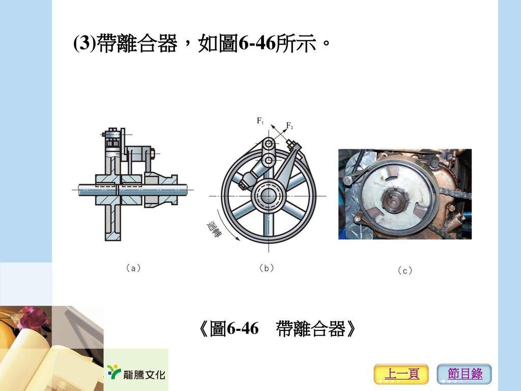 (3)帶離合器,如圖6-46所示。 《圖6-46 帶離合器》 上一頁 節目錄