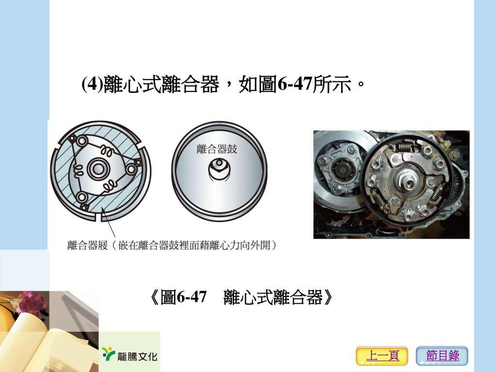 (4)離心式離合器,如圖6-47所示。 《圖6-47 離心式離合器》 上一頁 節目錄