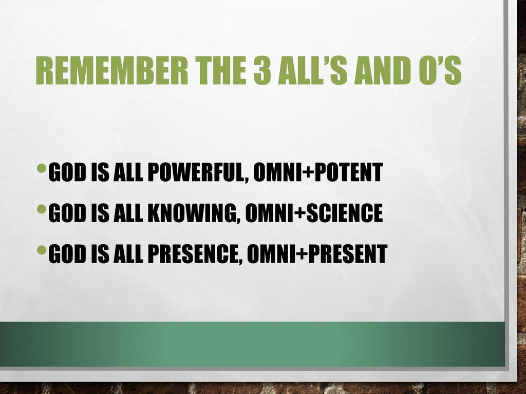 Remember the 3 All's and O's