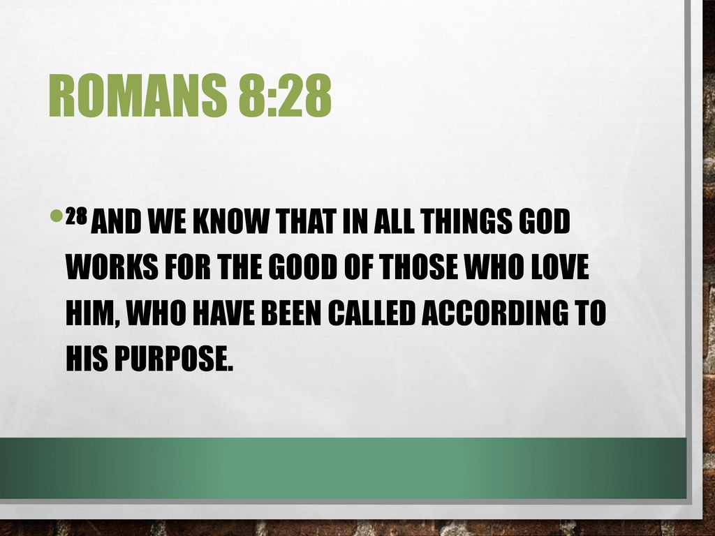 Romans 8:28 28 And we know that in all things God works for the good of those who love him, who have been called according to his purpose.