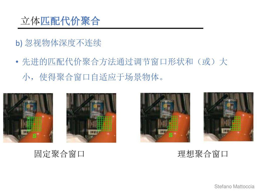 立体匹配代价聚合 b) 忽视物体深度不连续 先进的匹配代价聚合方法通过调节窗口形状和(或)大 小,使得聚合窗口自适应于场景物体。