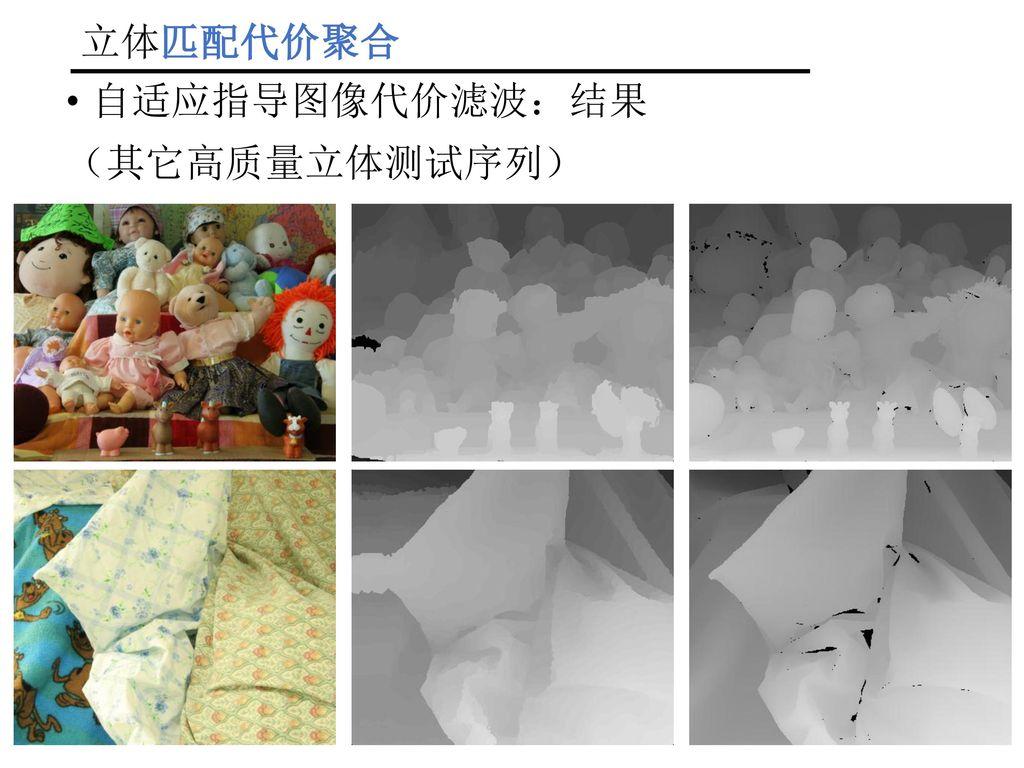 立体匹配代价聚合 自适应指导图像代价滤波:结果 (其它高质量立体测试序列)