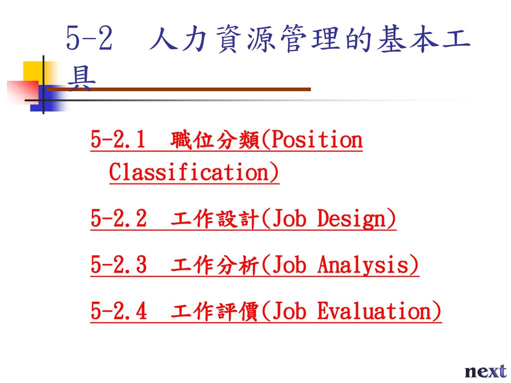 5-2 人力資源管理的基本工具 職位分類(Position Classification)