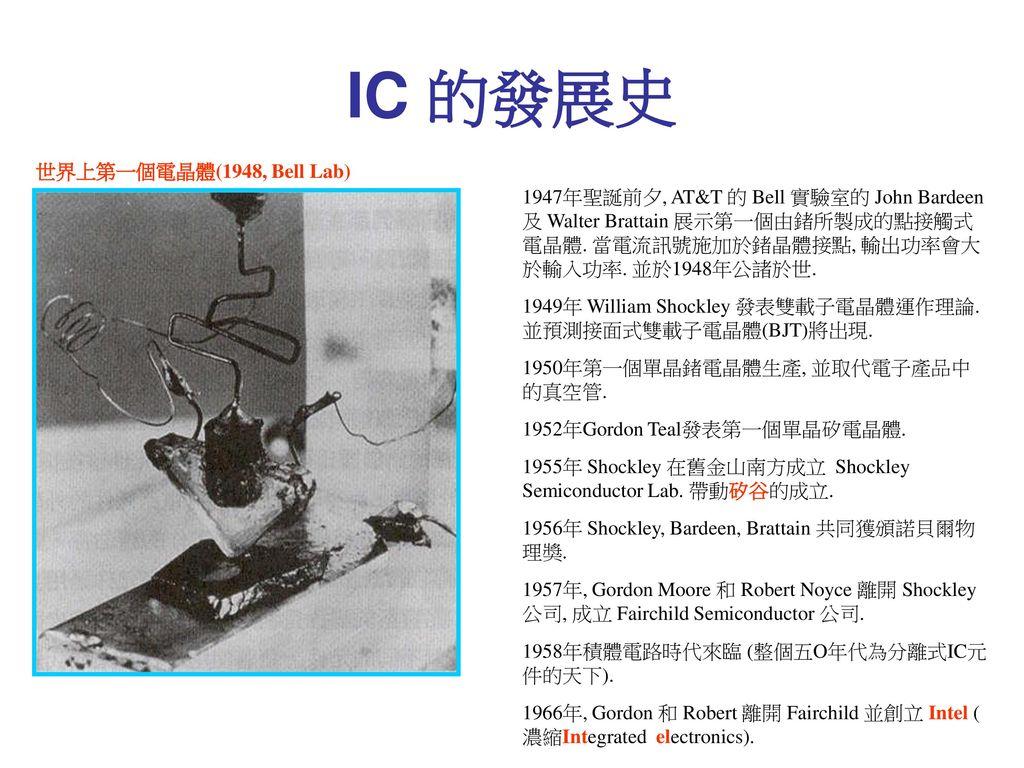 IC 的發展史 世界上第一個電晶體(1948, Bell Lab)