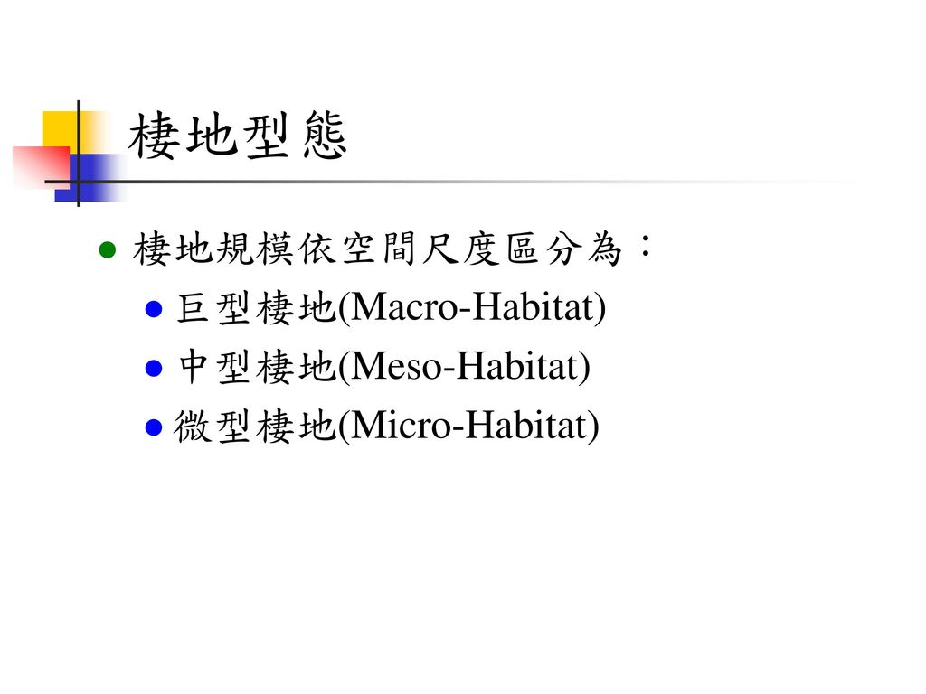 棲地型態 棲地規模依空間尺度區分為: 巨型棲地(Macro-Habitat) 中型棲地(Meso-Habitat)