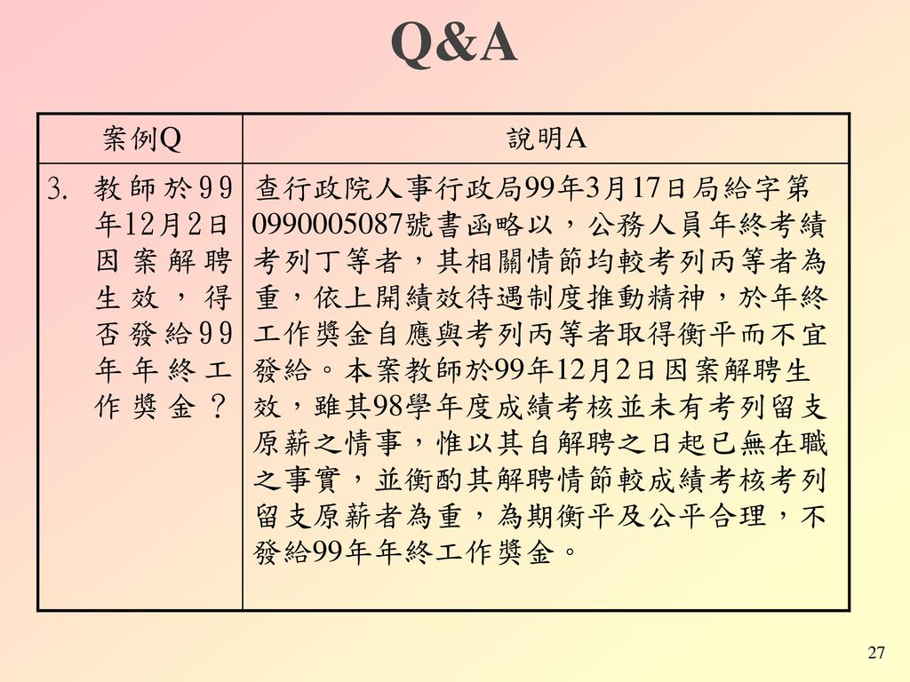 Q&A 案例Q 說明A 教師於99年12月2日因案解聘生效,得否發給99年年終工作獎金?