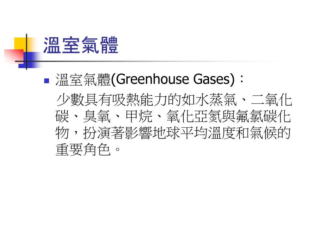 溫室氣體 溫室氣體(Greenhouse Gases):