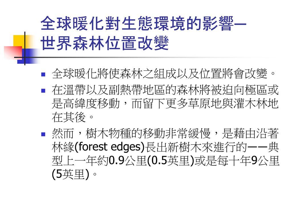 全球暖化對生態環境的影響─ 世界森林位置改變