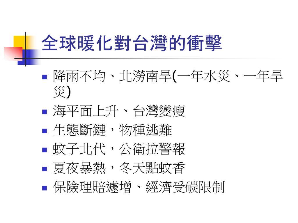 全球暖化對台灣的衝擊 降雨不均、北澇南旱(一年水災、一年旱災) 海平面上升、台灣變瘦 生態斷鏈,物種逃難 蚊子北代,公衛拉警報