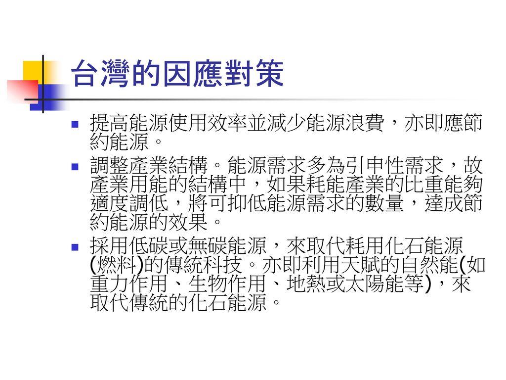 台灣的因應對策 提高能源使用效率並減少能源浪費,亦即應節約能源。