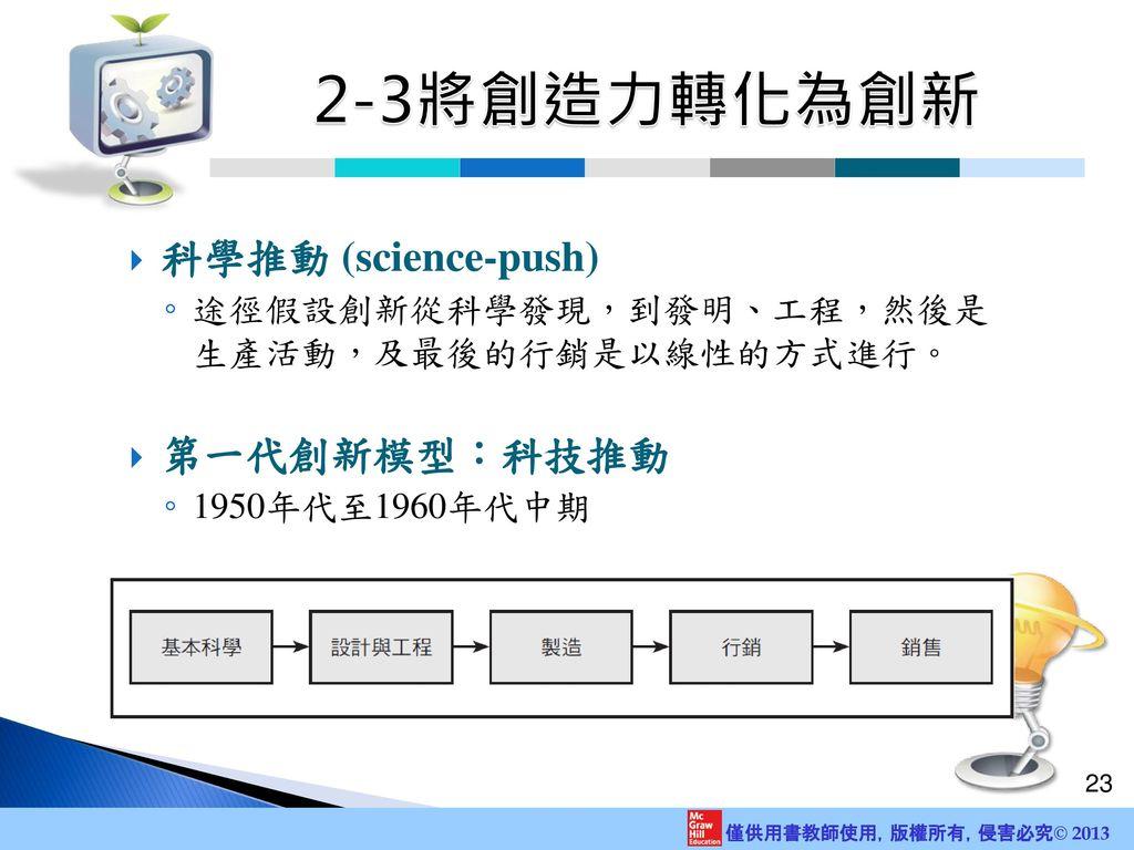 2-3將創造力轉化為創新 科學推動 (science-push) 第一代創新模型:科技推動