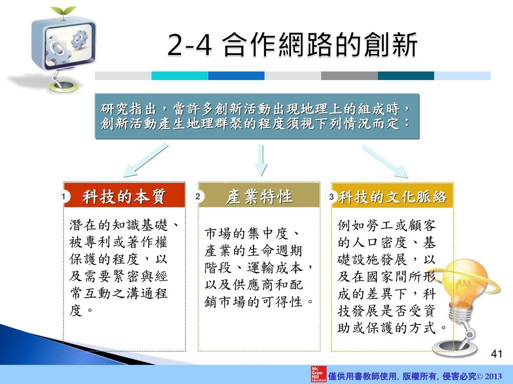 2-4 合作網路的創新 產業特性 科技的本質 科技的文化脈絡