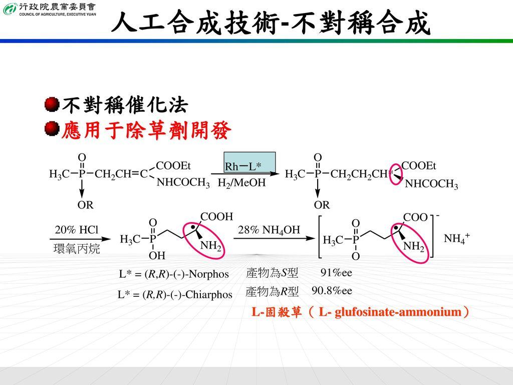 人工合成技術-不對稱合成 不對稱催化法 應用于除草劑開發 L-固殺草( L- glufosinate-ammonium)