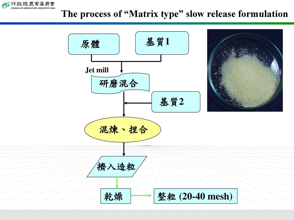 The process of Matrix type slow release formulation