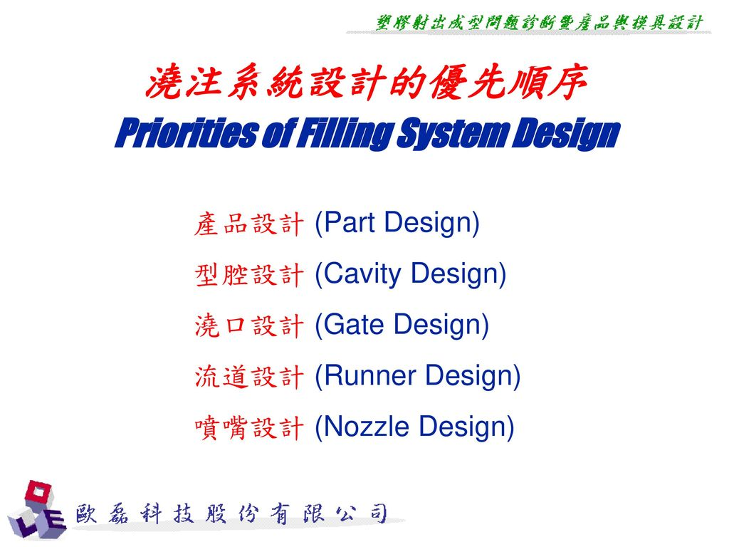 Priorities of Filling System Design