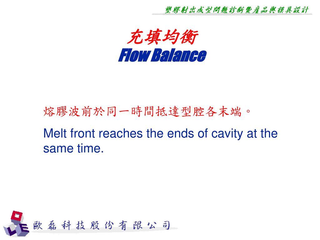 充填均衡 Flow Balance 熔膠波前於同一時間抵達型腔各末端。