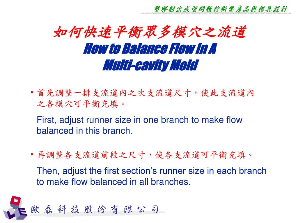 如何快速平衡眾多模穴之流道 How to Balance Flow In A Multi-cavity Mold