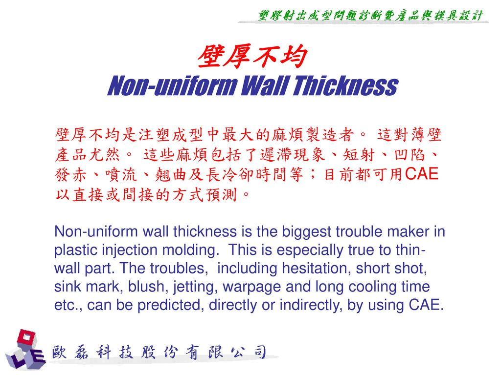 壁厚不均 Non-uniform Wall Thickness
