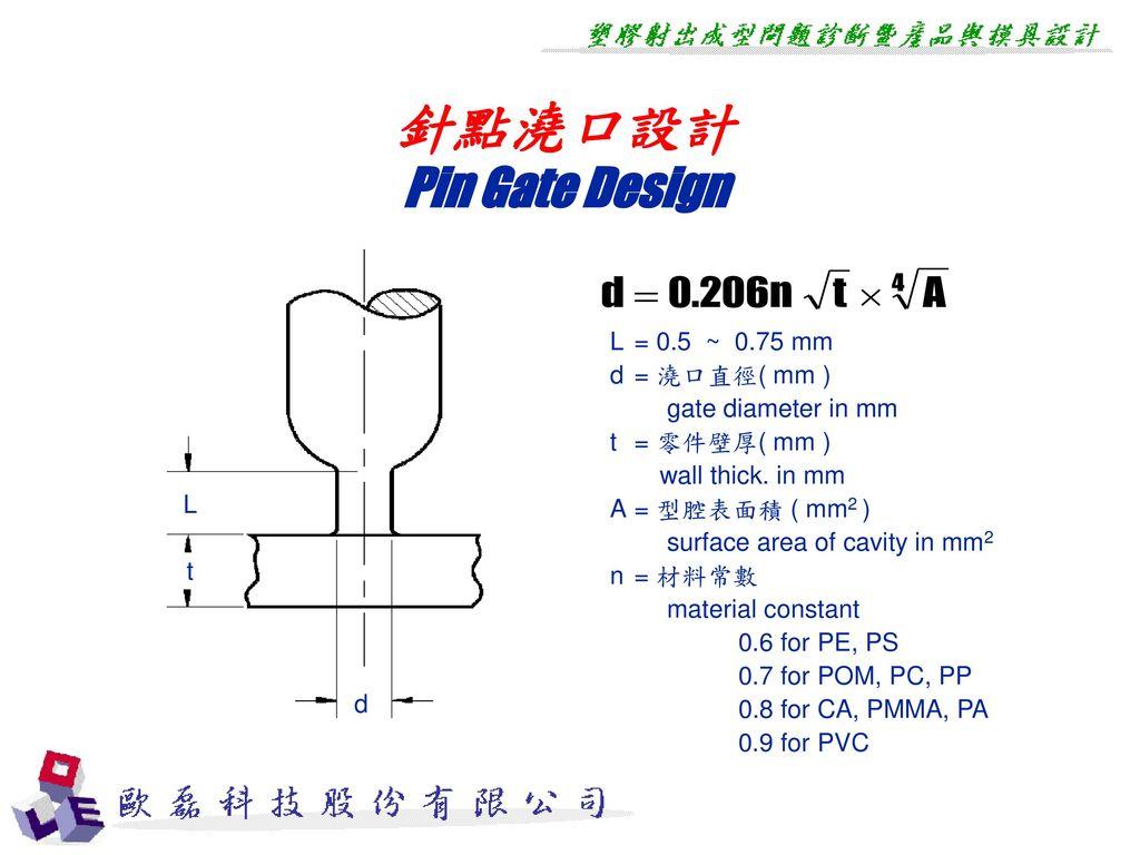 針點澆口設計 Pin Gate Design L = 0.5 ~ 0.75 mm d = 澆口直徑( mm )