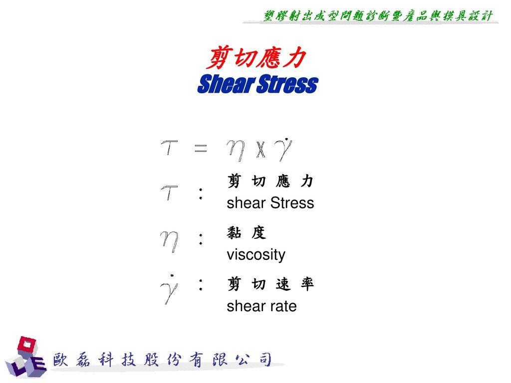 剪切應力 Shear Stress 剪 切 應 力 shear Stress 黏 度 viscosity 剪 切 速 率