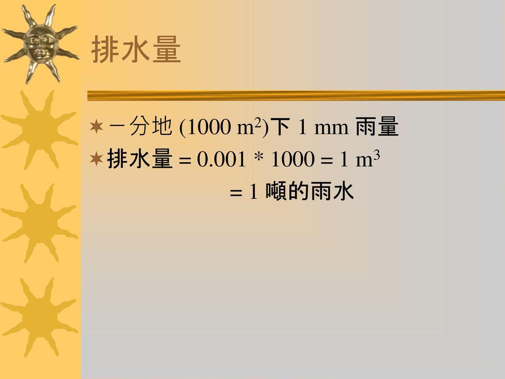排水量 ㄧ分地 (1000 m2)下 1 mm 雨量 排水量 = 0.001 * 1000 = 1 m3 = 1 噸的雨水