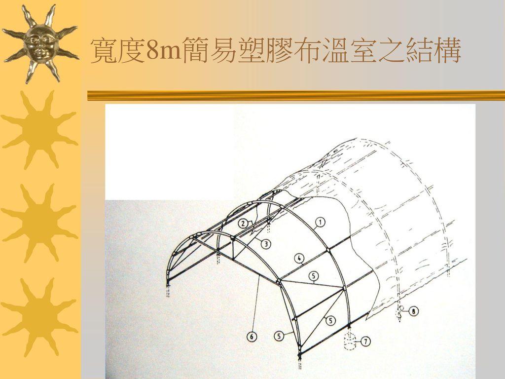 寬度8m簡易塑膠布溫室之結構