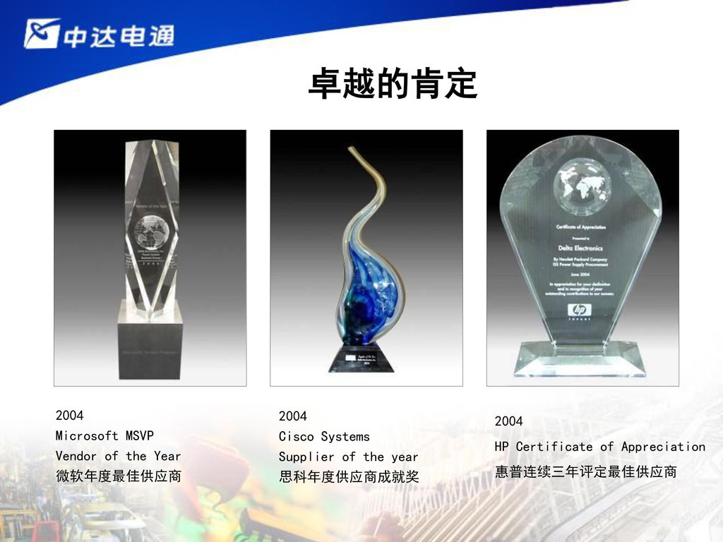 卓越的肯定 2004 Microsoft MSVP Vendor of the Year 微软年度最佳供应商 2004