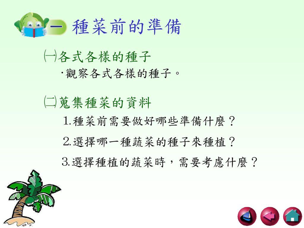 種菜前的準備 ㈠各式各樣的種子 ㈡蒐集種菜的資料 ‧觀察各式各樣的種子。 ⒈種菜前需要做好哪些準備什麼? ⒉選擇哪一種蔬菜的種子來種植?