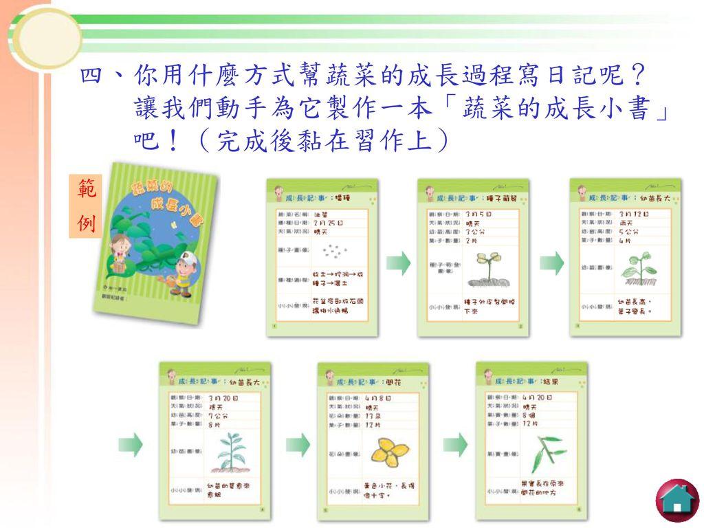 四、你用什麼方式幫蔬菜的成長過程寫日記呢? 讓我們動手為它製作一本「蔬菜的成長小書」 吧!(完成後黏在習作上)