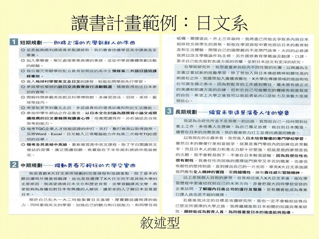 讀書計畫範例:日文系 敘述型