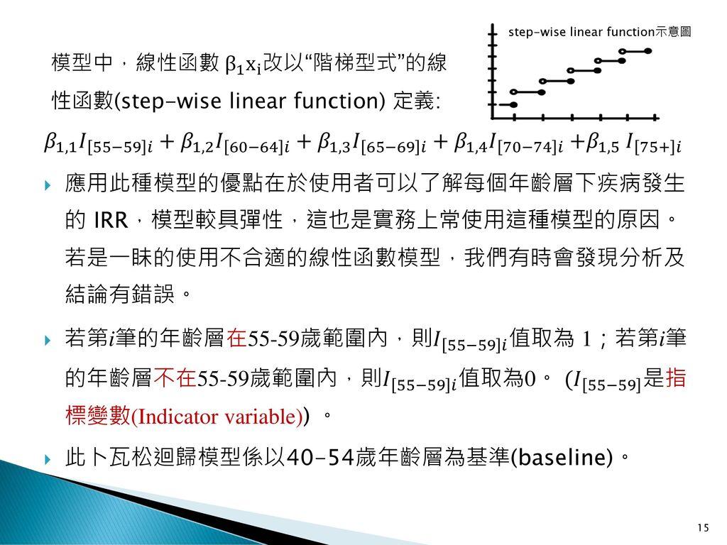 此卜瓦松迴歸模型係以40-54歲年齡層為基準(baseline)。