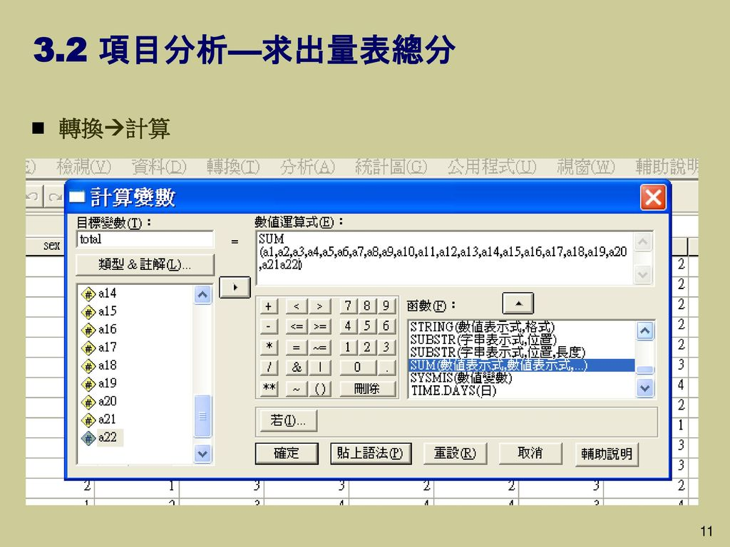 3.2 項目分析—求出量表總分 轉換計算 11 11
