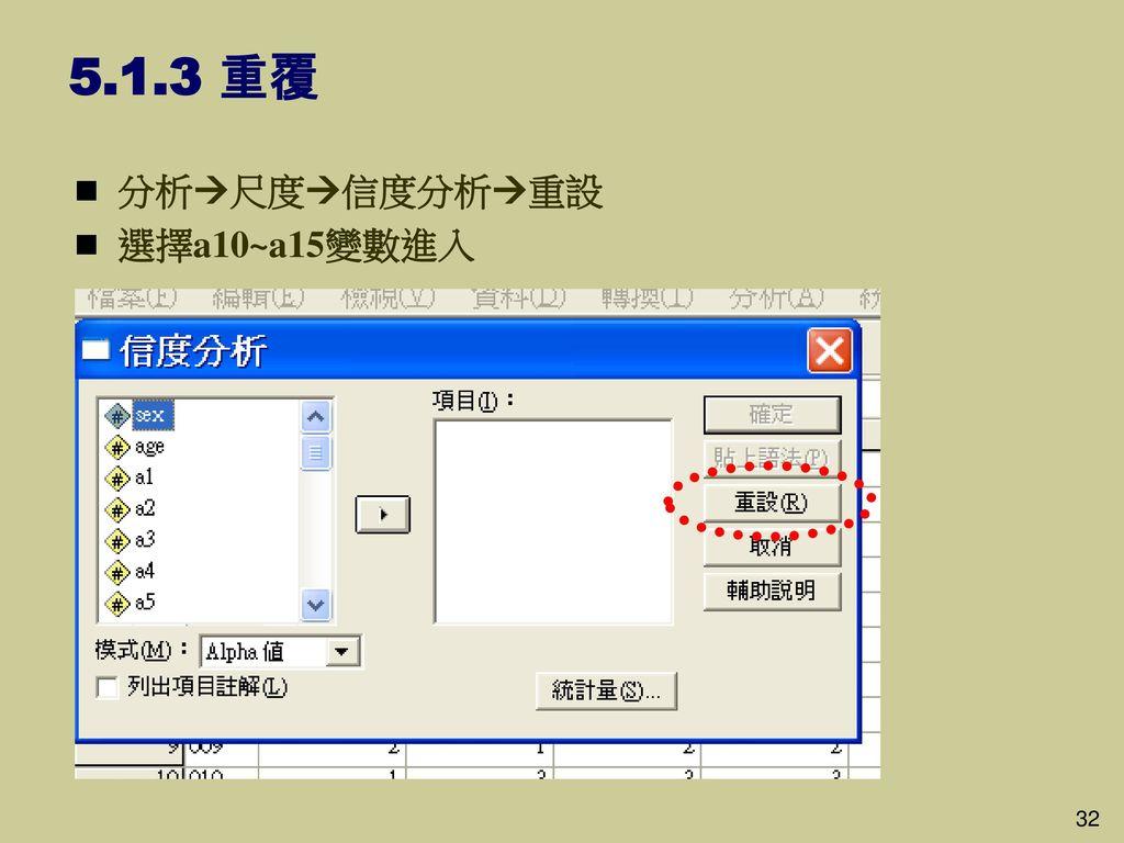 5.1.3 重覆 分析尺度信度分析重設 選擇a10~a15變數進入 32 32